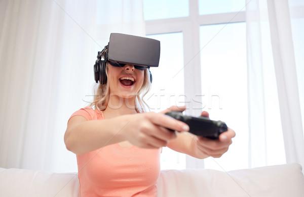 женщину виртуальный реальность гарнитура 3D технологий Сток-фото © dolgachov