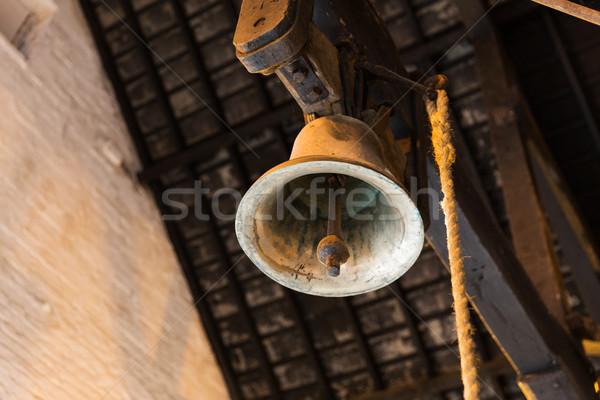 Alten Glocke Alarm hängen Scheune Stock foto © dolgachov