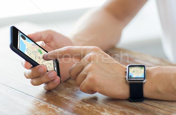 Foto stock: Mãos · ver · negócio · tecnologia