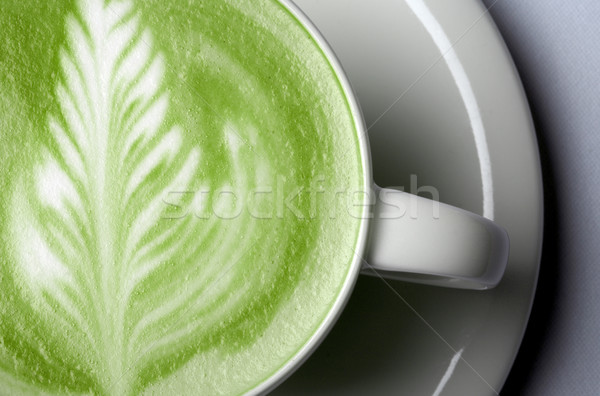 close up of matcha green tea latte in cup Stock photo © dolgachov
