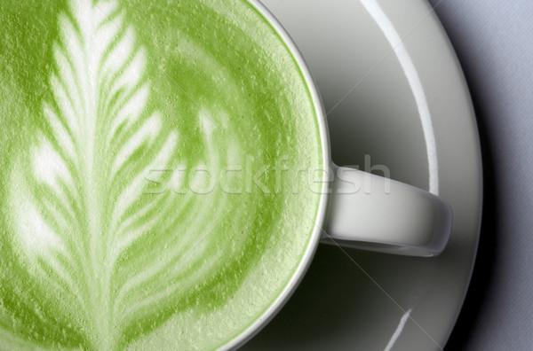 Közelkép zöld tea csésze ital diéta súlycsökkentés Stock fotó © dolgachov