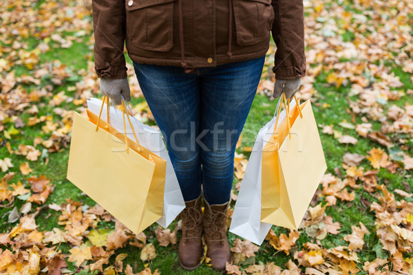 woman with shopping bags in autumn park Stock photo © dolgachov