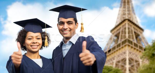 Bachelors tonen eiffel toren onderwijs Stockfoto © dolgachov