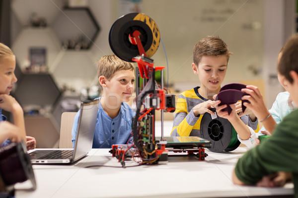 Gelukkig kinderen 3D printer robotica school Stockfoto © dolgachov