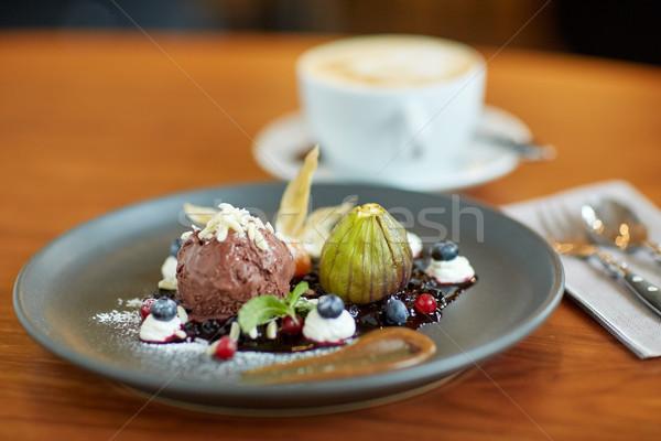 chocolate ice cream dessert on plate at restaurant Stock photo © dolgachov
