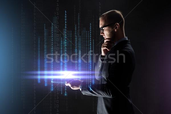 ビジネスマン 透明な ビジネスの方々  バーチャル 現実 ストックフォト © dolgachov