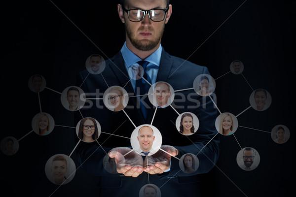 ビジネスマン ネットワーク 黒 ビジネス バーチャル 現実 ストックフォト © dolgachov