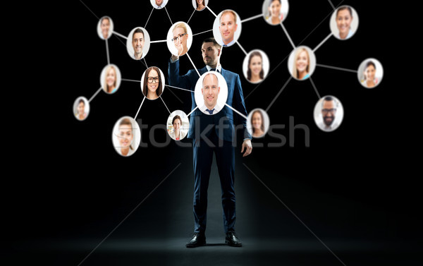 businessman with virtual corporate network Stock photo © dolgachov
