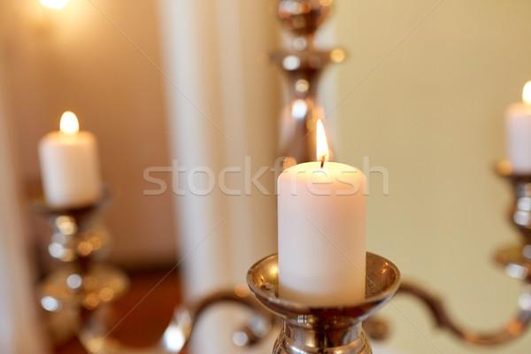 свечей сжигание Церкви религии свечу пламени Сток-фото © dolgachov