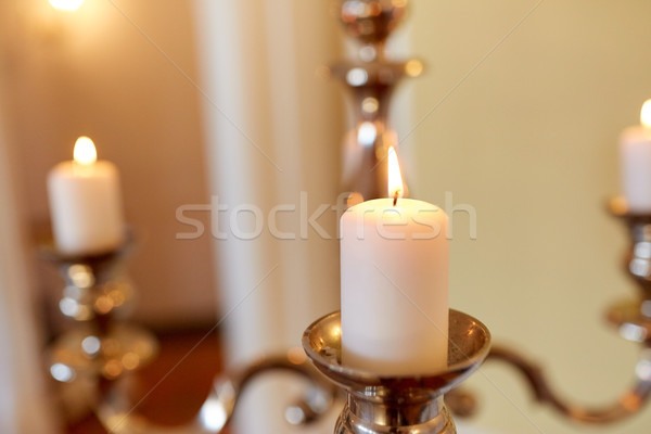 Bougies brûlant église religion bougie flamme Photo stock © dolgachov