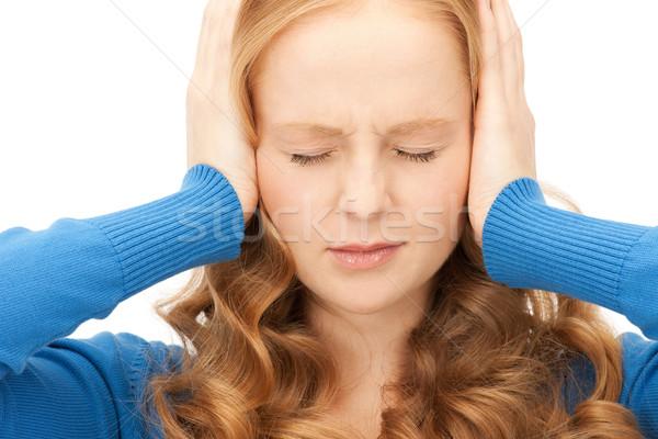 Mujer manos orejas Foto jóvenes estrés Foto stock © dolgachov