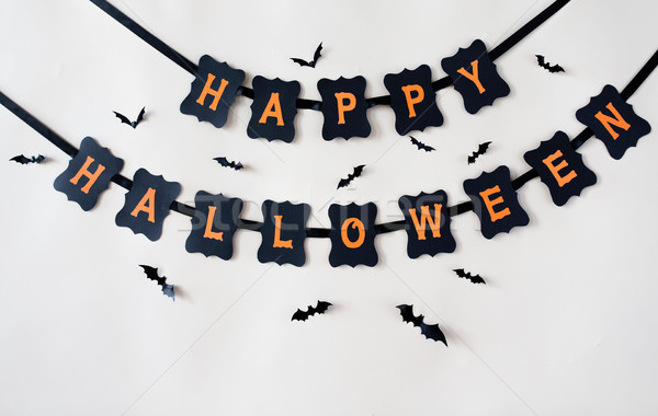happy halloween party garland decoration and bats Stock photo © dolgachov