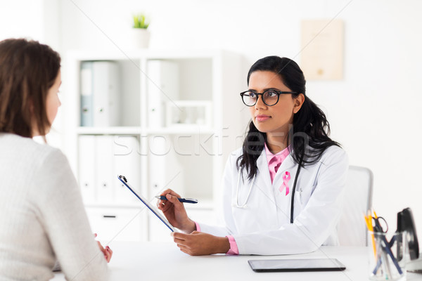 doctor with pink awareness ribbon and patient Stock photo © dolgachov