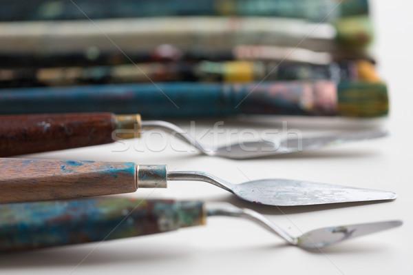 Palette coltelli pittura arte creatività artistico Foto d'archivio © dolgachov