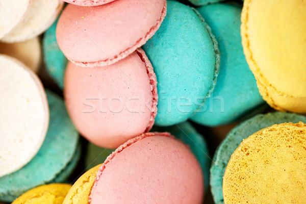Macarons Kochen Süßwaren Dessert Stock foto © dolgachov