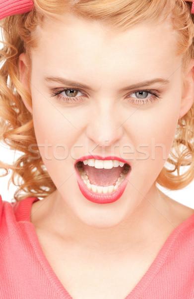 Boldogtalan nő fényes kép fehér diák Stock fotó © dolgachov