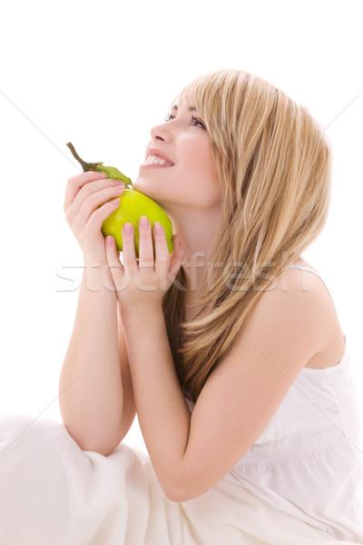 Citroen heldere foto blond vrouw voedsel Stockfoto © dolgachov