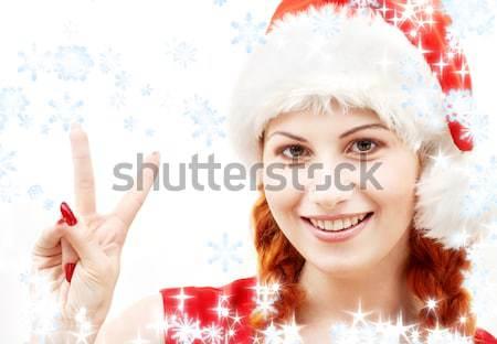 christmas bunny over red Stock photo © dolgachov