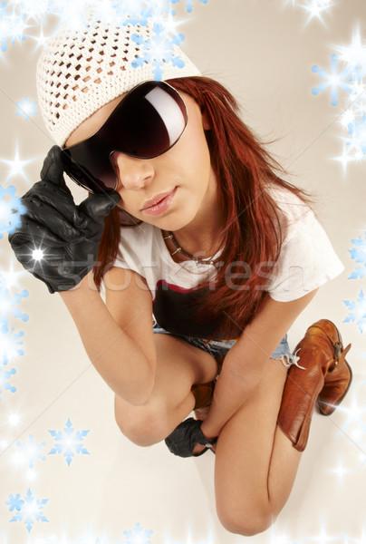 cool girl in big sunglasses Stock photo © dolgachov