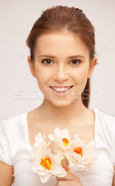 Mujer hermosa flor blanca Foto mujer nina amor Foto stock © dolgachov