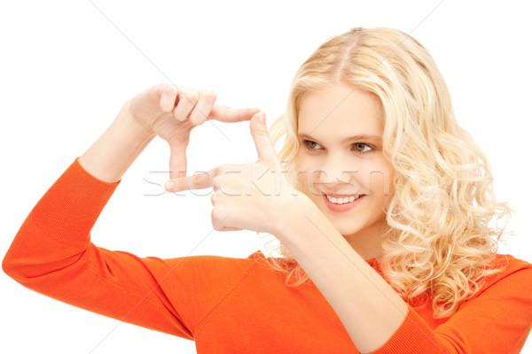 Stockfoto: Vrouw · frame · vingers · foto · handen · portret