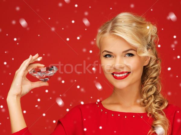 Femme grand diamant photos heureux mode Photo stock © dolgachov