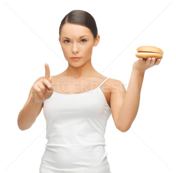 Donna hamburger luminoso foto bella donna femminile Foto d'archivio © dolgachov