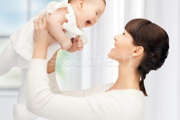 Feliz mãe bebê quadro foco mulher Foto stock © dolgachov