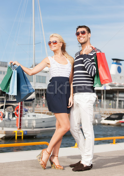 young couple in duty free shop Stock photo © dolgachov