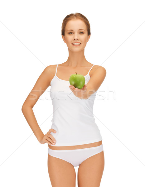 Vrouw witte ondergoed groene appel Stockfoto © dolgachov