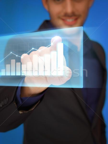 Man aanraken virtueel scherm business technologie Stockfoto © dolgachov