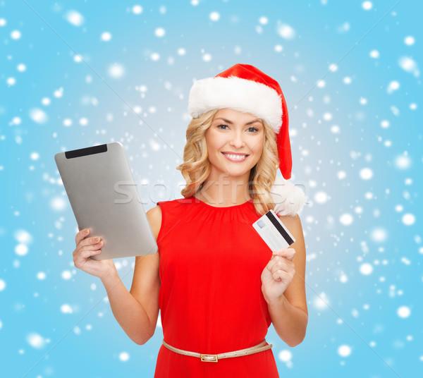 Femme carte de crédit Noël noël achats en ligne Photo stock © dolgachov