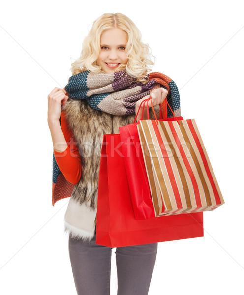 Tienermeisje winter kleding detailhandel verkoop Stockfoto © dolgachov