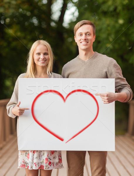 Romantikus pár fehér tábla szív nyár ünnepek Stock fotó © dolgachov