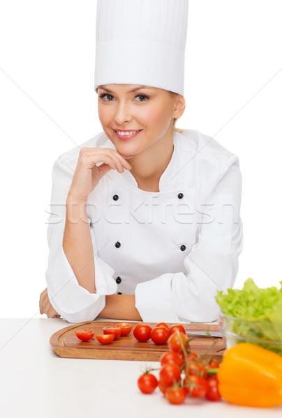 Сток-фото: улыбаясь · женщины · повар · приготовления · продовольствие · овощей