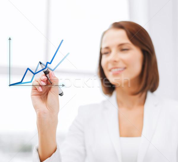 üzletasszony rajz levegő iroda üzlet technológia Stock fotó © dolgachov