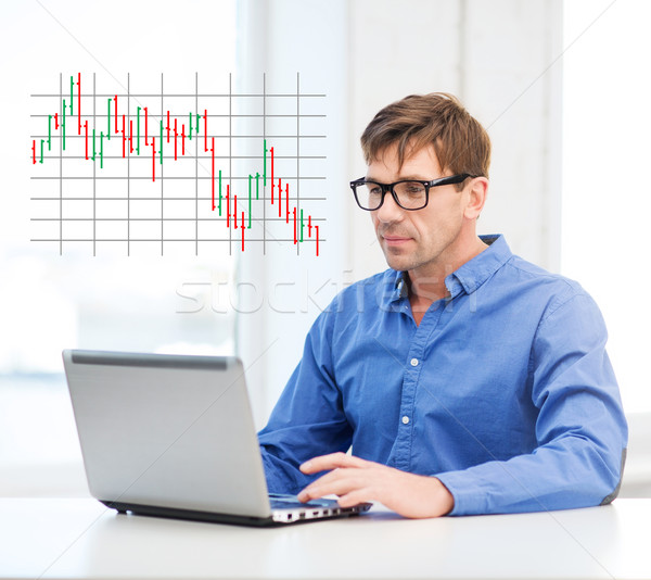 Man werken laptop home technologie business Stockfoto © dolgachov