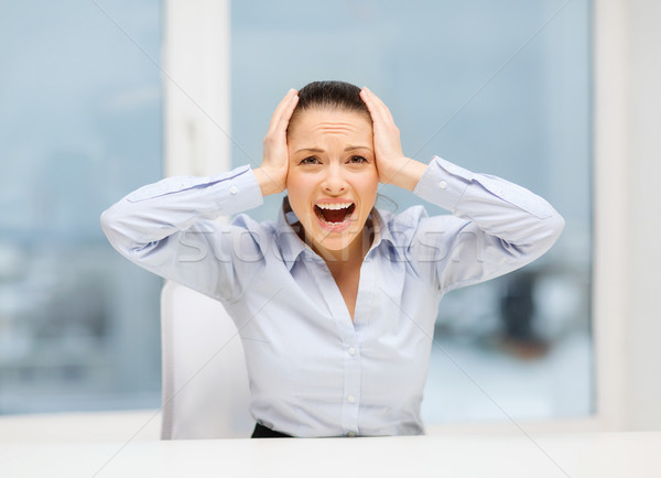öfkeli çığlık atan işkadını ofis iş stres Stok fotoğraf © dolgachov