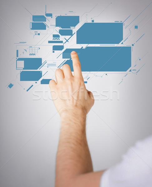 man hand pointing at virtual screen Stock photo © dolgachov