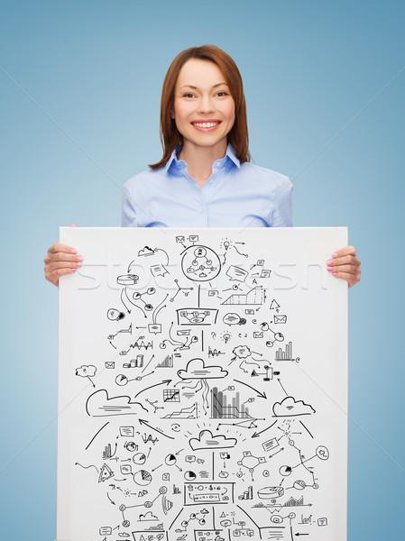 smiling businesswoman with plan in white board Stock photo © dolgachov