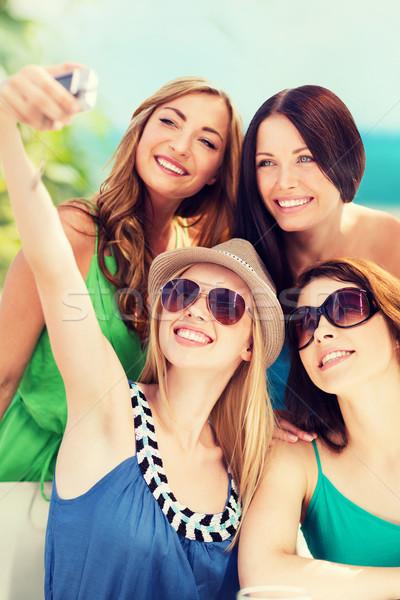 Stockfoto: Meisjes · foto · cafe · strand · zomer