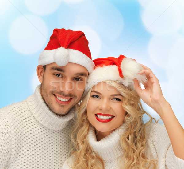 笑みを浮かべて カップル サンタクロース ヘルパー 冬 ストックフォト © dolgachov