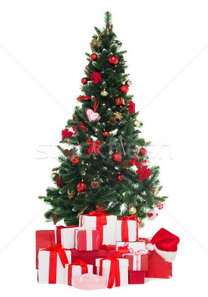 Foto stock: árvore · de · natal · presentes · férias · inverno · celebração · feliz