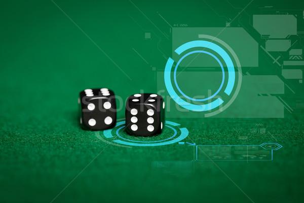 黒 サイコロ 緑 カジノ 表 ストックフォト © dolgachov