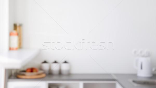 Wazig keuken interieur interieur koken exemplaar ruimte voedsel Stockfoto © dolgachov