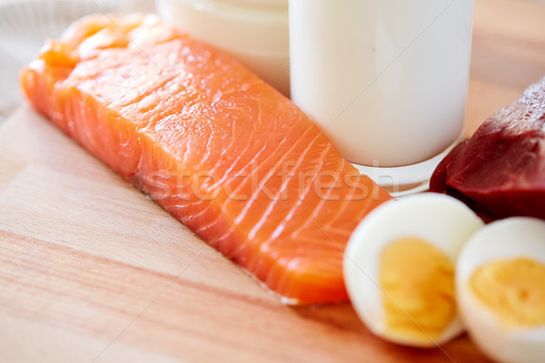 close up of salmon fillets, eggs and milk on table Stock photo © dolgachov