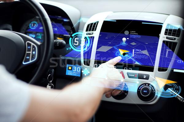 мужчины стороны навигация автомобилей приборная панель транспорт Сток-фото © dolgachov