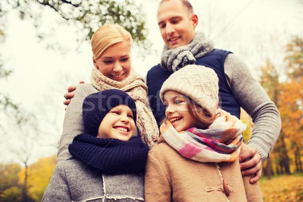 Boldog család ősz park család gyermekkor évszak Stock fotó © dolgachov