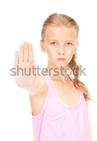 Kız dur işareti parlak resim el Stok fotoğraf © dolgachov