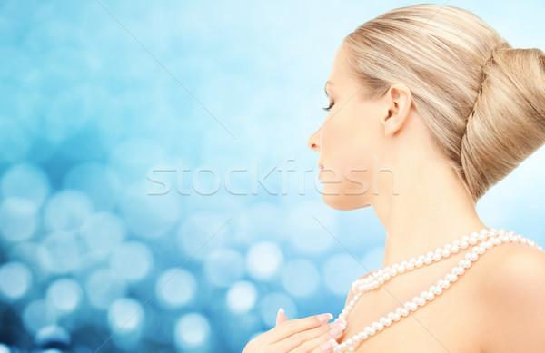 красивая женщина морем Pearl ожерелье синий красоту Сток-фото © dolgachov